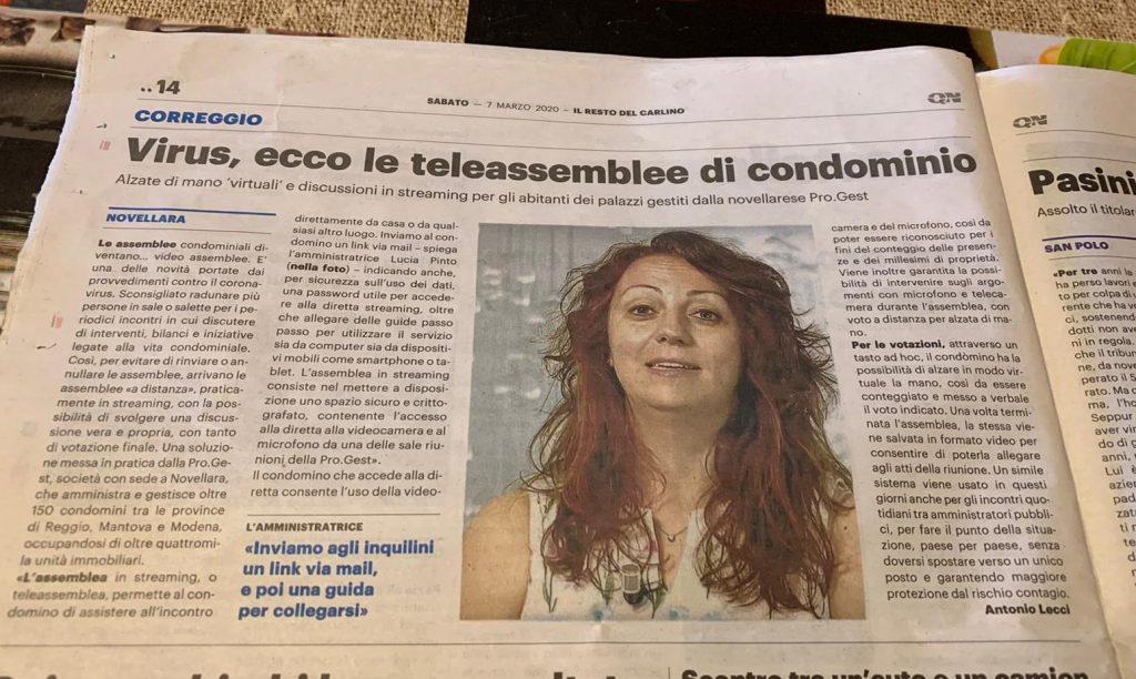 Articolo-Resto-del-Carlino-Assemblea-online-telematica-ProGest-Novellara-Amministrazioni-condominiali-condominio
